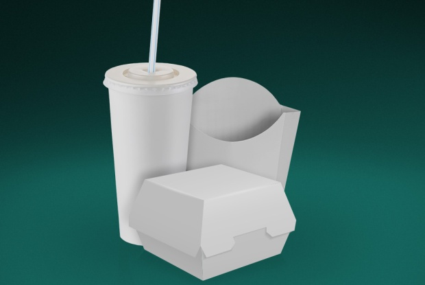 Plain, white fast food packaging materials used by QSR.
