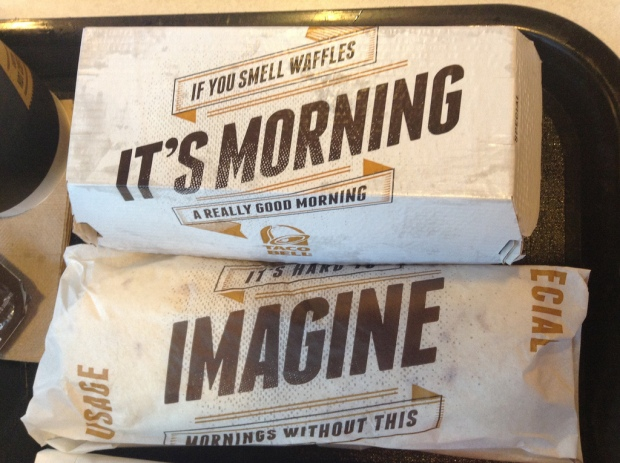 Fast Food breakfast in effective marketing packaging.