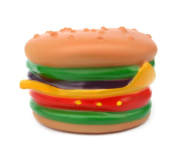 A rubber burger illustrating fast food shelf life photgraphy
