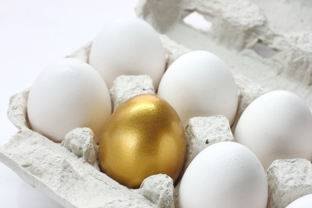 Photo of golden egg in carton among white eggs